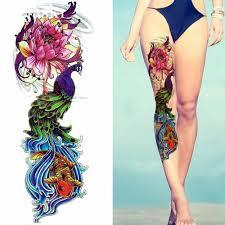 пляжная акварель павлин временная татуировка жалюзи женщины полная нога