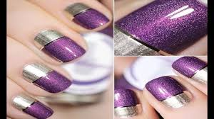 Nail Art with Two Colours   Easy Nail Art For Beginners - YouTube