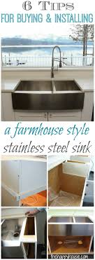 pin it to remember it 6 tips for ing and installing a farmhouse style stainless steel sink at thehappyhousie com