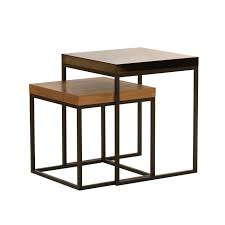 contemporary nesting tables  wooden  metal  marble  prairie