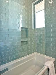 blue glass tile bathroom note like tile color gorgeous shower tub combo with walls and bath