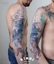 Kraken Sailing Ship Trash Polka Tattoo By Carola Deutsch Best