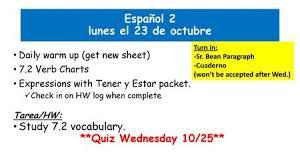 Tener Verb Chart Term 2 Week 1 Martes Initial Activity Tener Review