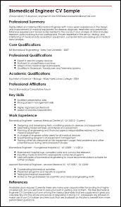 Curriculum Vitae Generator Stunning Biomedical Engineer CV Sample MyperfectCV