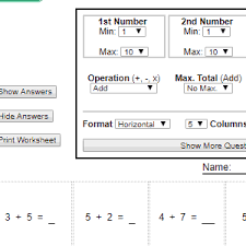 Addition Facts To 20 Chart Printable Math Worksheet Generators
