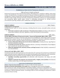 Financial Analyst Resume Objective Real Estate Analyst Resume Example 93