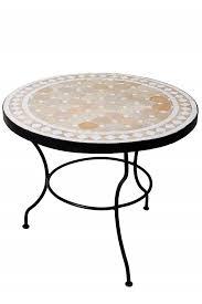 mosaic table marrakesch beige white 60cm