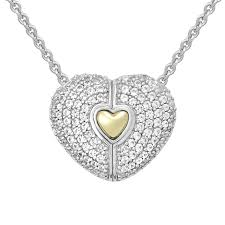petra azar heart of gold white sapphire pave necklace with 14k gold inlay