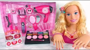 gaint barbie head styling doll makeup cosmetic set دمية باربي لعبة barbie maquiagem brinquedos