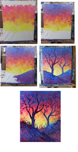 Spring Passion, step by step sunset painting with trees and hills.