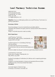 Resume Objective Examples Pharmacy Technician Resume For Study