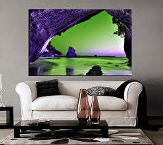 living room art 1 piece canvas wall art mountain decor ocean artwork  on purple and green canvas wall art with 1 piece green ocean huge canvas purple mountain wall art