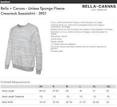 Bella Canvas Hoodie Size Chart Bella Canvas Fleece Crewneck Size Chart Tennessee Shirt