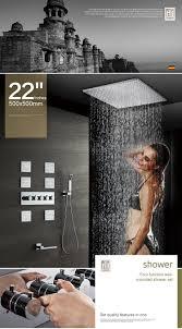 Großhandel 304sus Und Messing Hergestellt Bad Duscharmaturen 50 50 Cm Regen Duschkopf Duschset High Flow Umsteller Mixer Regendusche Körper Jets