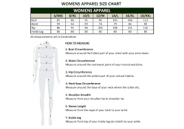 Australian Size Chart Measurements Womens Apparel Size Chart Jpg Dublin Clothing Australia