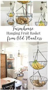Do you like to do thrift store makeovers? Well, this farmhouse hanging  fruit basket from old wire planters was such a fun project.