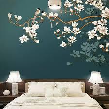 Custom Wall Paper Mural <b>Hand Painted</b> Chinese Style <b>Flowers</b> ...