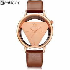 geekthink hollow quartz watch women luxury brand gold las casual dress leather band