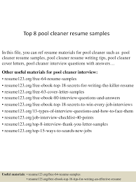 Top 40 Pool Cleaner Resume Samples Mesmerizing Cleaner Resume