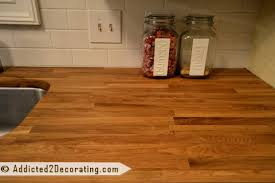 a closer look at the butcher block wood grain refinished with mineral oil
