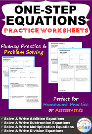 one step equations homework worksheets skills practice word problems