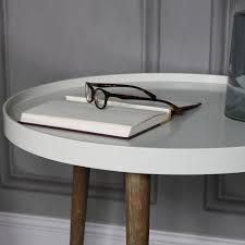 large round ivory side occasional table