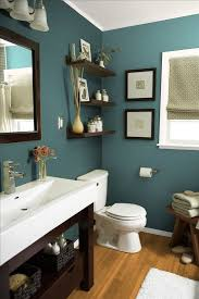 love the wall color with the white sink and dark wood accents
