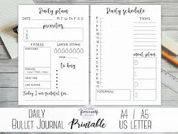 Daily Journal Planner Daily Bullet Journal Printable Daily Planner Bullet