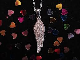 valentines day crystal angel wing necklace