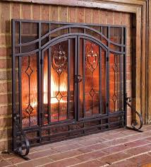 two door fireplace screen with glass fl panels