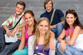 Teens Collage Students Sitting On School Stairs Smiling Teens Campus College
