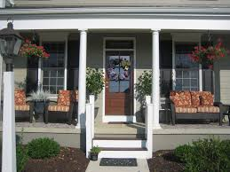 Decorations:Inspiring Brick Front Porch Steps Idea Single Brown Half Glass Front  Door With Small