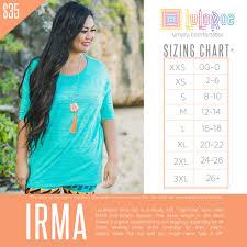 Size Chart Lularoe Lularoe Irma Shirt Size Chart Coolmine Community School