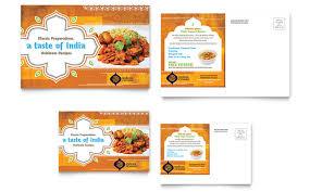 Indian Restaurant Postcard Template Design