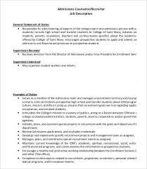 10+ Admissions Counselor Job Description Templates - Pdf, Doc | Free ...
