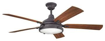 kichler hatteras bay patio outdoor ceiling fan distressed black 60