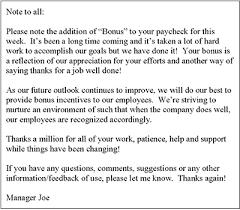 Examples Of Memos To Staff Bonus Letter Memo Template