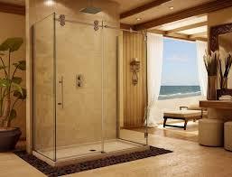 bathroom elegant frameless shower door with sliding door and decorative natural stones frameless shower