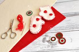 Christmas Craft Christmas Craft Supplies And Handmade Ornaments Stock Photo