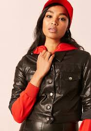 forever21 leather look cropped jacket black