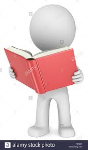 dude 3d character holding and reading red book front view