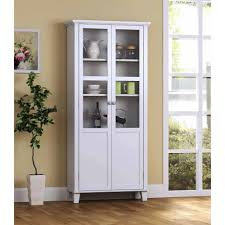 rectangular white storage cabinet with doors and ample