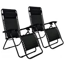Set of 2 Zero Gravity Outdoor Patio Chairs - Black 0 Factory Direct: