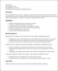 Bartending Resume Sample Best Professional Resumes Letters