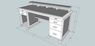 Computer desk plan, front (SketchUp)