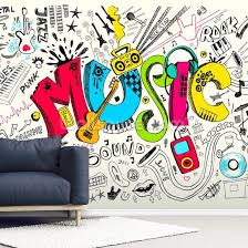 doodle wall mural room setting