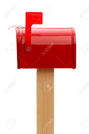 metal mailbox flag. Red Metal Mailbox With Raised Flag Side View. Isolated On White Background. Stock Photo A