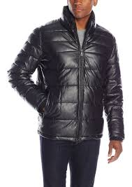 men s faux leather quilted puffer jacket