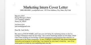Cover Letter For Marketing Internship Marketing Intern Cover Letter