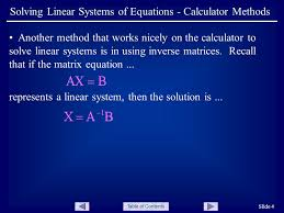 table of contents slide 4 solving linear systems of equations calculator methods another method that